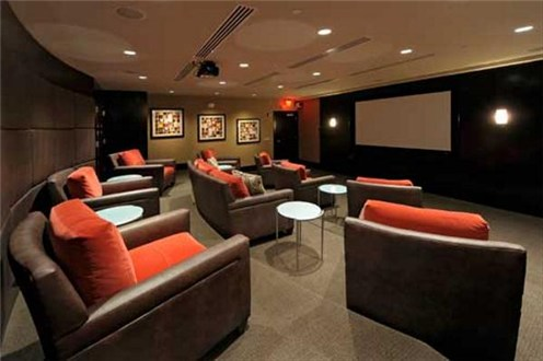 Movie rooms in apartment communities.
