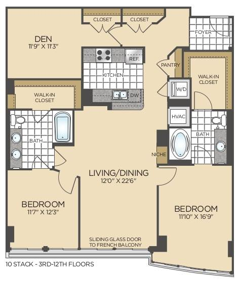 Bed/2 Bath Den - D01